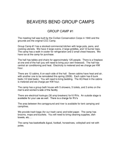 View Additional Beavers Bend Group Camp Info