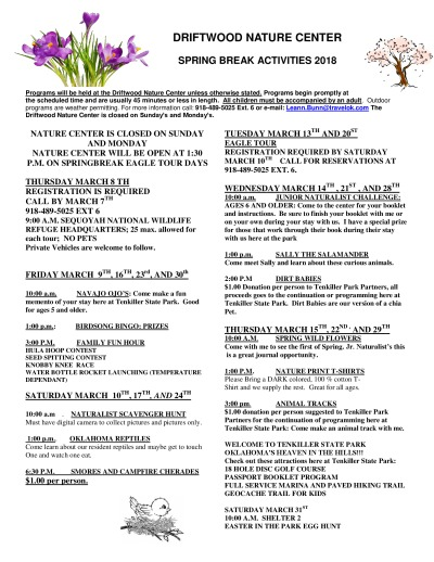 Spring Break Activities 2018 - Driftwood Nature Center