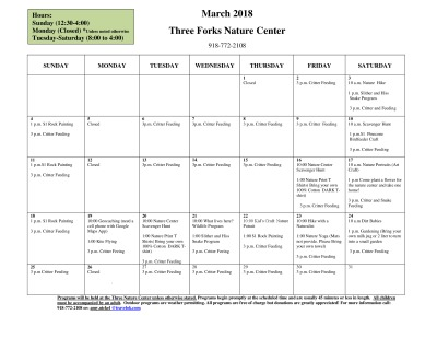 Nature Center Activities - March 2018