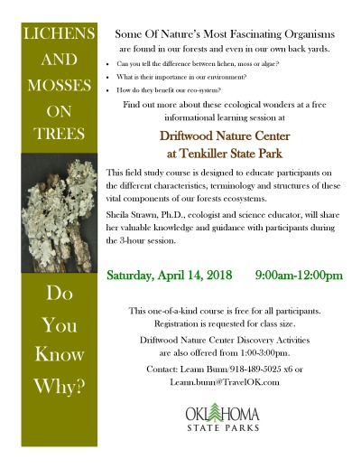 Lichens and Mosses on Trees Class: April 14, 2018