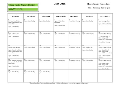 July Schedule - Nature Center
